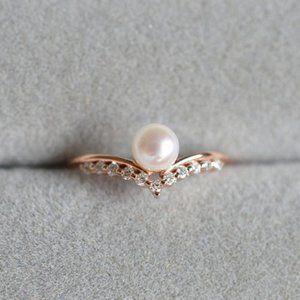 NEW 18K Rose Gold Diamond Pearl Ring